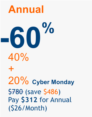 Cyber Monday 2018 offer 60%
