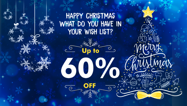 Merry Christmas Up to 60% off